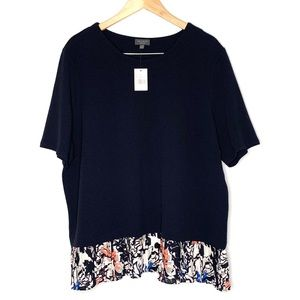 The limited navy blue short sleeve blouse